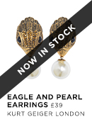 Eagle and Pearl Earrings- Kurt Geiger London - Available 1st Aug