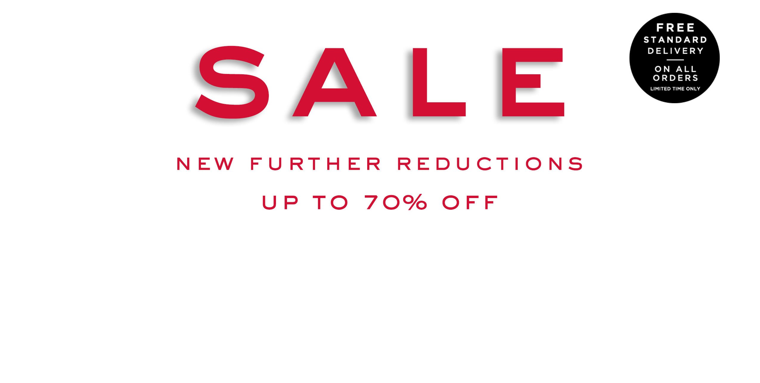 Sale: Up to 70% Off plus free delivery on all orders